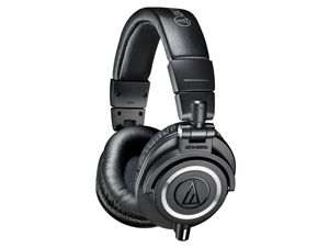 Audio-Technica ATH-M50X - Closed-back dynamic monitor headphones, detachable cables, black