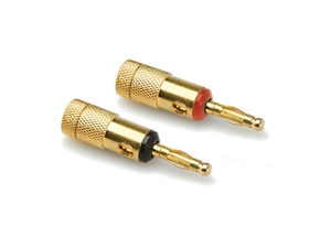 Hosa BNA-050 Single Banana Plug  PAIR,- (1 Black - 1 Red) - Gold Plated