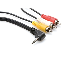 Hosa C3M-110 - 4 Conductor 1/8-inch (3.5mm) to 3 RCA Cable for SONY - 10 ft.