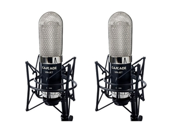 Cascade Microphones VIN-JET-L Stereo Pair (Black Body/Nickel Grill) w/ Lundahl Trans Long Ribbon Microphone