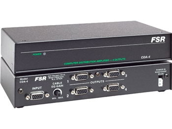 FSR CDA-4 - HD-15 1X4 Computer Distribution Amplifiers with Cable EQ