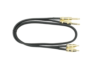 Hosa CPR-405AU Dual Gold Metal 1/4-inch TS to Gold Metal RCA - 5 ft.