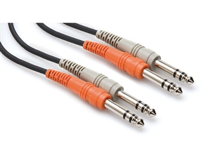Hosa CSS-202 Dual 1/4-inch TRS to 1/4-inch TRS Cable - 2m