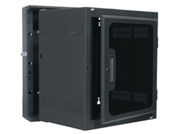 "DWR-10-17PD, 10 space wall mounted rack, 17"" depth, all metal, black, with Plexi door, Middle Atlantic"