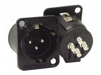 Switchcraft E3MSCB - Panel Mount XLR Male Connector, locking jack, Black metal shell, Silver pins