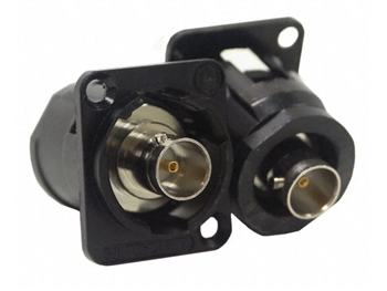 EHBNC2B - EH Series 75 Ohm BNC Female Feedthru JackD Shell ,  Isolated, Black shell, nickel contacts, Switchcraft