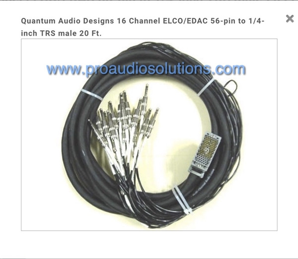 "Quantum-Audio 16-Channel ELCO/EDAC 56-pin to 1/4"" TRS, 20 Ft. Lifetime warranty"