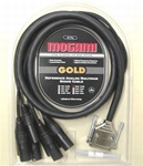 GOLD-DB25-XLRM-15, 8-Ch DB25 to XLRM Snake Cable. 15 Ft. Gold, Mogami