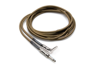 Hosa GTR-518R Guitar Cable - Tweed Cloth Woven - Right Angle to Straight - 18 ft.