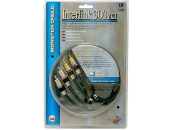 Monster I300MKII-1M Interlink 300 MkII Audio Interconnect Cable - Dual RCAs to RCAs - 1m