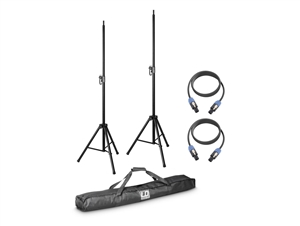 LD Systems DAVE8-SET2 - Speaker Stands (2) w/Carry Bag + (2) Speakon Cables for DAVE 8 Systems