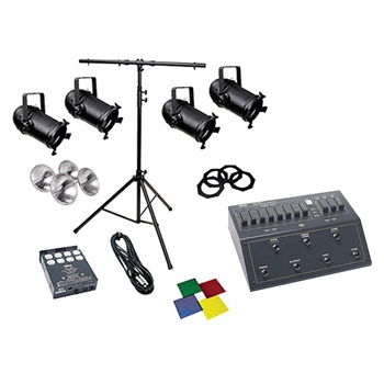 Small lighting system RENTAL, 8, 500 watt Par 56, 8 ch controller, NSI