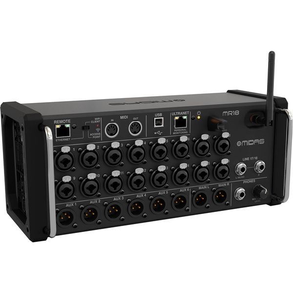 Midas MR18 18-Input Digital Mixer for iPad/Android Tablets with Wi-Fi and USB Recorder