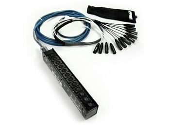 Whirlwind MS-12-M-NR-050, MINI 12 channel Snake Cable - 50 Ft., fan to low profile box, 12 XLR's