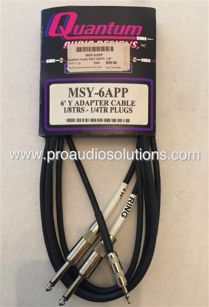 Quantum Audio MSY-6APP - 1/8-inch TRS(m) to Two 1/4-inch TS(m) Cable - 6 Ft.,Quantum Audio