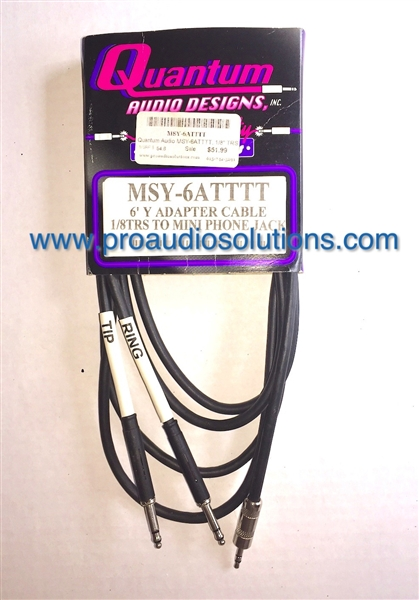 Quantum Audio MSY-6ATTTT - 1/8-inch TRS (m) to Two TT(m) Y Adaptor Cable - 6 Ft.