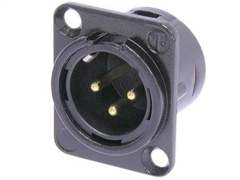 Neutrik NC3MD-L-B-1- 3-Pin XLRM Panel Mount Connector, BLACK shell,  GOLD contacts