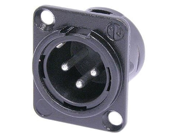 Neutrik NC3MD-L-BAG-1, 3-Pin XLRM Panel Mount Connector, BLACK shell,  SILVER contacts