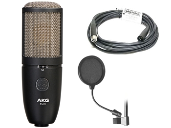 "AKG P420 Project Studio Multi-Pattern Condenser Microphone w/ FREE 20' Whirlwind Mic Cable & FREE On-Stage 6"" Pop Filter"