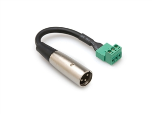 Hosa PHX-106M, - XLR Male to Phoenix Connector Screw Terminal - 6 in. (connects stripped wire to XLR MALE)