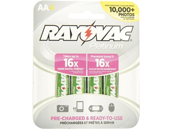Rayovac PL715-4 GEN Platinum Pre-charged LSD NiMH AA Carded Batteries, 4-Pack
