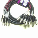 Quantum-Audio PMT8-15FXTT, 8-Channel TT to 4 XLRM & 4 XLRF Cable, 15 Ft.