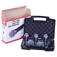 Superlux PRA-C5  Mic Kit with 5 PRA-C1 supercardioid mics and stand adaptors in carrying case