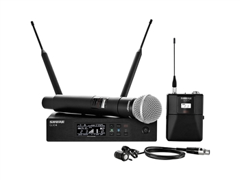 Shure QLXD124/85 J50 Band (572.175 - 635.900 MHz) Bodypack and Vocal Combo System with WL185 and SM58