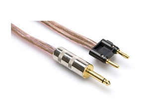 Hosa SKM-203BN - 1/4-in TS to Dual Banana Speaker Cable, 12 AWG x 2, 3 ft - Clear Insulation