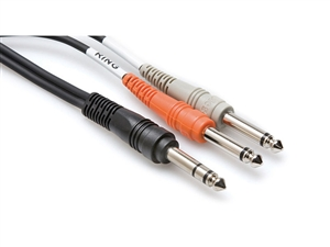 Hosa STP-203 Y-Cable - 1/4-inch TRS to 1/4-inch TS/TS - 3m (9.9 ft.)