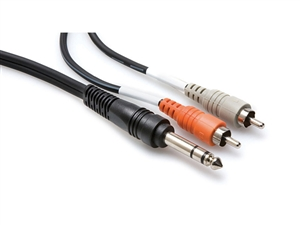 Hosa TRS-203 Y-Cable - 1/4-inch TRS to Two RCA - 3 m