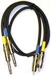 UPX2P-3 Dual RCA to Dual 1/4-inch TS male Cable - 3 Ft.,Quantum Audio