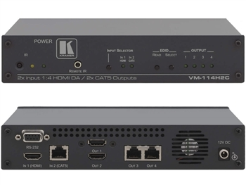 Kramer VM-114H2C - 2x1:4 (2 HDMI & 2 TP Transmitter) TP & HDMI Switcher & Distribution Amplifier