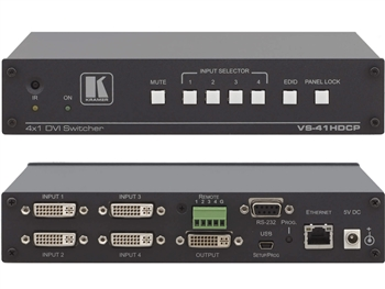 Kramer VS-41HDCP - 4x1 DVI Switcher - HDCP Compliant