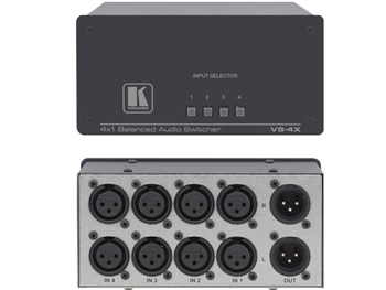 Kramer VS-4X - 4x1 Balanced Stereo Audio Mechanical Switcher