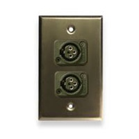 Whirlwind WP1B/2FW, Single Gang Wall Plate w/ 2 - XLR Female Connectors Black, Aluminum
