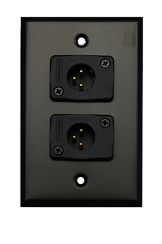 Whirlwind WP1B/2MW, Single Gang Wall Plate w/ 2 - XLR Male Connectors Black, Aluminum