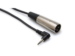XVM-102M Camcorder Microphone Cable, Right-angle 3.5 mm TRS to XLR3M, 2 ft, Hosa