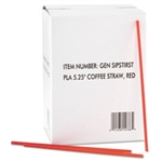 "GEN - Red & White Plastic 5 1/4"" Coffee Stirrers"