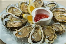 "Oysters on the Half Shell - <span style=""color:#800000""> $34.78 for 24 oysters  *Weekly Special*</>"