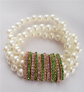 Pearl Bracelet with Pink and Green Rhinestones