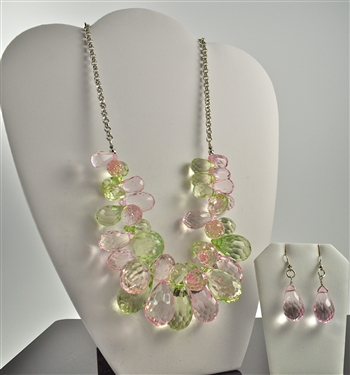 Pink & Green Ice Necklace Set