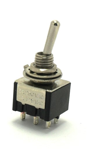 DPDT (ON)/OFF/(ON) Miniature Black Toggle Switch Momentary ON/OFF/Momentary ON