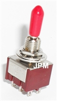 DPDT (ON)/OFF/(ON) Miniature Red Handle Toggle Switch