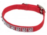 Coastal Nylon Jeweled Collar Red 3/8X12in