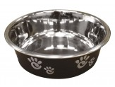 Ethical Products Barcelona Stainless Steel Paw Print Bowl Licorice 8oz
