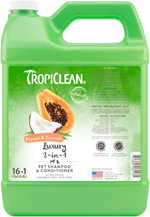 TropiClean Luxury 2-in-1 Papaya and Coconut 10:1 Pet Shampoo 1gal