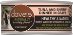 Daves Naturally Healthy Cat Food, Tuna & Shrimp Dinner in Gravy Case of 24