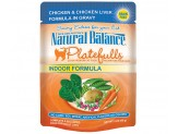 Natural Balance Platefulls Indoor Chicken & Chicken Liver Formula Cat Food 3oz  (Case of 24)
