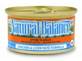 Natural Balance Chicken & Liver Pate Formula Canned Cat Food 24/5.5oz
